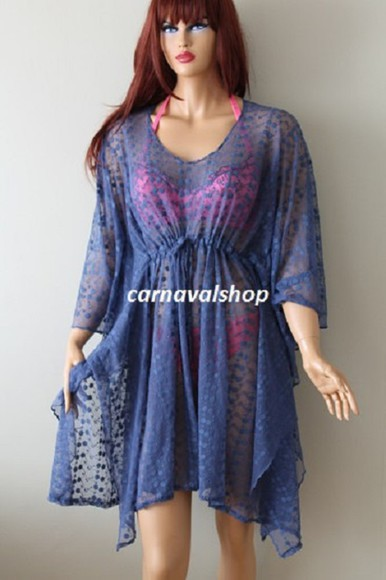 cobalt blouse cover up caftan kaftan kimono beach summer outfits swimwear