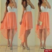 dress,coral,pretty,clothes,white,orange,cute,high-low dresses,chiffon skirt,white dress,peach dress,skirt,peach,flowy,chiffon,cute dress,summer dress,summer,top,orange dress,pink dress