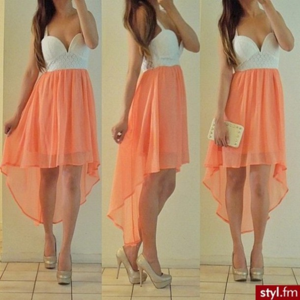 dress coral pretty clothes orange and white high-low dresses orange white flow long cute blouse white crop tops orange dress cute dress peach dress peach purse skirt top white dress pink dress prom dress prom dress prom dress high low party dress white at the top peach kinda color at the bottom  longn in the back short in the front dress high low long summer colorful beautifull coral dress high low dress this is so pretty!
