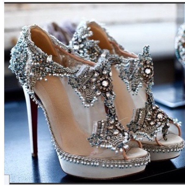 Shoes: bridal heels beaded shoes beading sparkle vintage