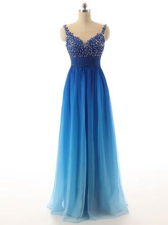 dress prom blue elegant gown formal gradient fashion evening dress dressofgirl