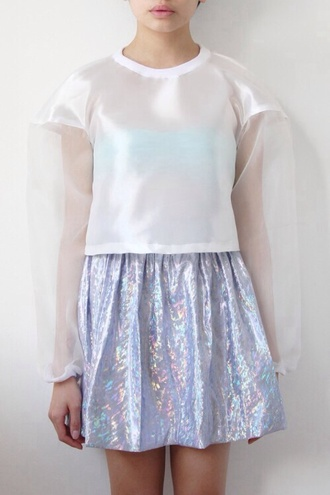 blouse holographic see through