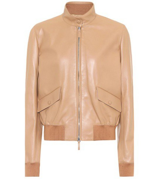 The Row jacket leather jacket leather beige