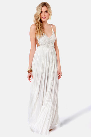 Pretty Ivory Dress - Crocheted Dress - Maxi Dress - $107.00