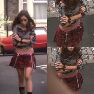 skirt effy stonem skins tartan skirt grunge shirt red skirt