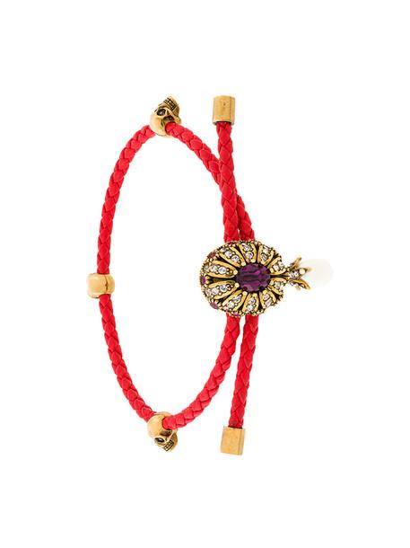 Alexander Mcqueen women leather red jewels