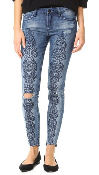 jeans embroidered jeans embroidered