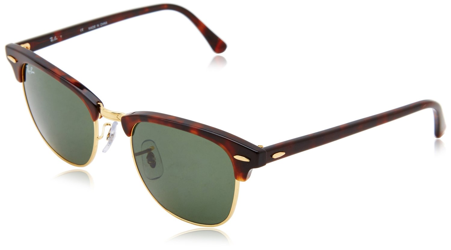 ray ban rb3016 classic clubmaster sunglasses  amazon: ray ban rb3016 classic clubmaster sunglasses, non polarized, tortoise/arista frame/crystal green lens,
