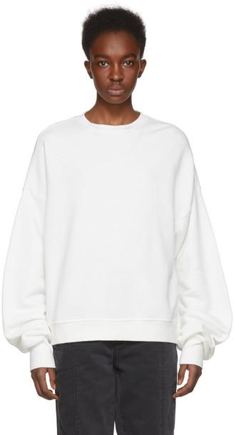sweatshirt pleated white sweater