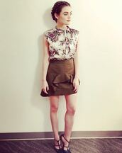 skirt,top,blouse,mini skirt,lucy hale,instagram,brown skirt