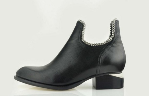 alexander wang boots leather black shoes