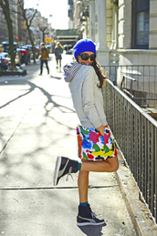 nycpretty,blogger,grey sweater,print,colorful,high top sneakers,sweater,skirt,hat,sunglasses