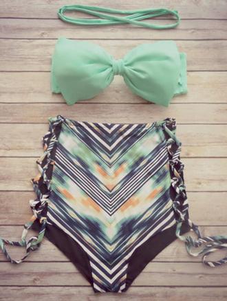 swimwear bikini beach summer high waisted bow green cute girly zaful
