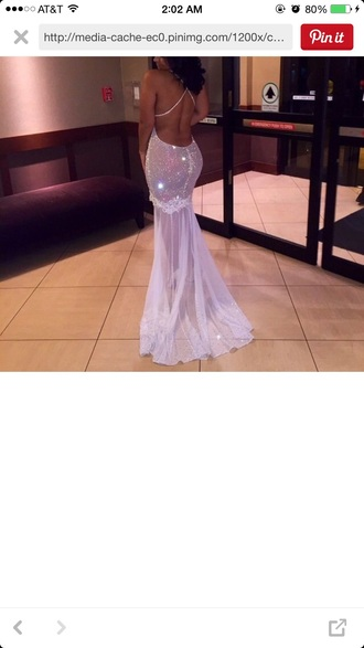 dress silver long prom