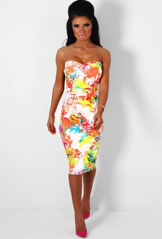 dress bodycon dress bodycon strapless floral multicolor tropical