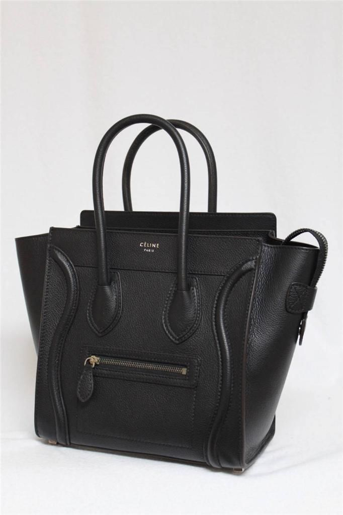 New Celine Small Micro Black Luggage Pebbled Leather Tote Bag f28ce8f1e0ae6