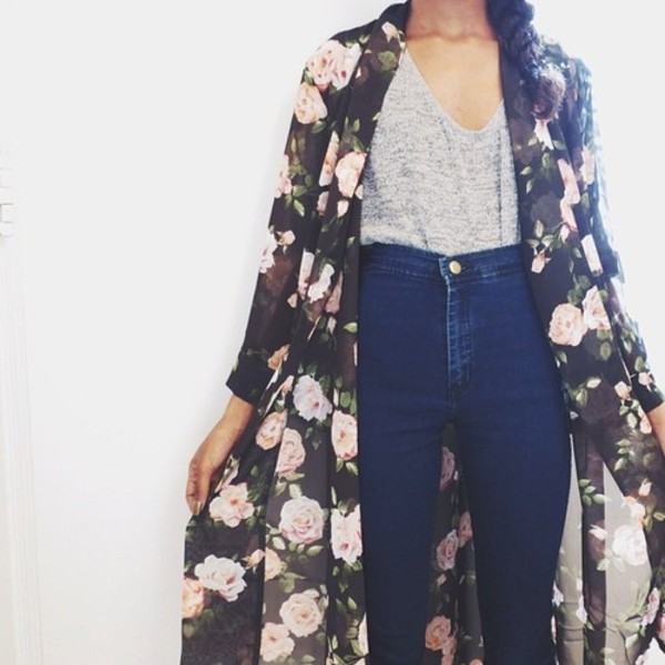 jeans high waisted kimono flowers kimono roses grey top top blue jeans flowers floral kimono t-shirt blouse sweater cardigan