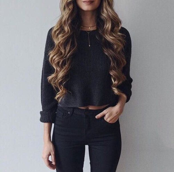 sweater black jumper knit cropped antraciet black antracite