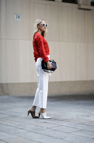 pants white pants sunglasses tumblr cropped pants top red top shoes mules bag black bag white sunglasses