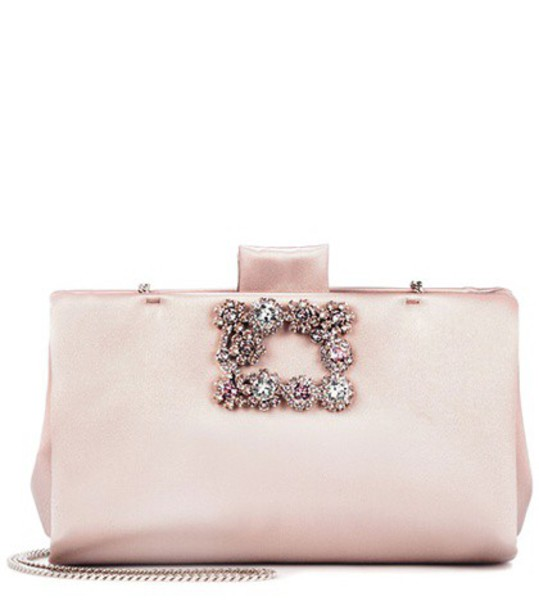 Roger Vivier soft clutch flowers satin pink bag