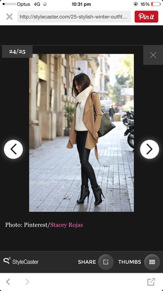 sweater jacket boots black pants white chunky knit turtleneck chunky knit neck warmer