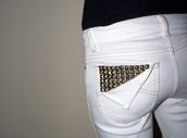 jeans,white,pants,rivets,ripped