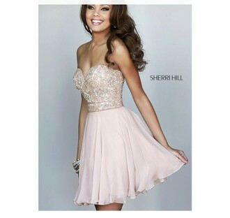 sherri hill prom dress homecoming dress pink dress nude dress strapless dress dress short dress where do you find this exact t dress