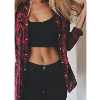 blouse red flannel fit body goals high waisted jeans on point on point clothing trending trend trendy well dressed popular trending now