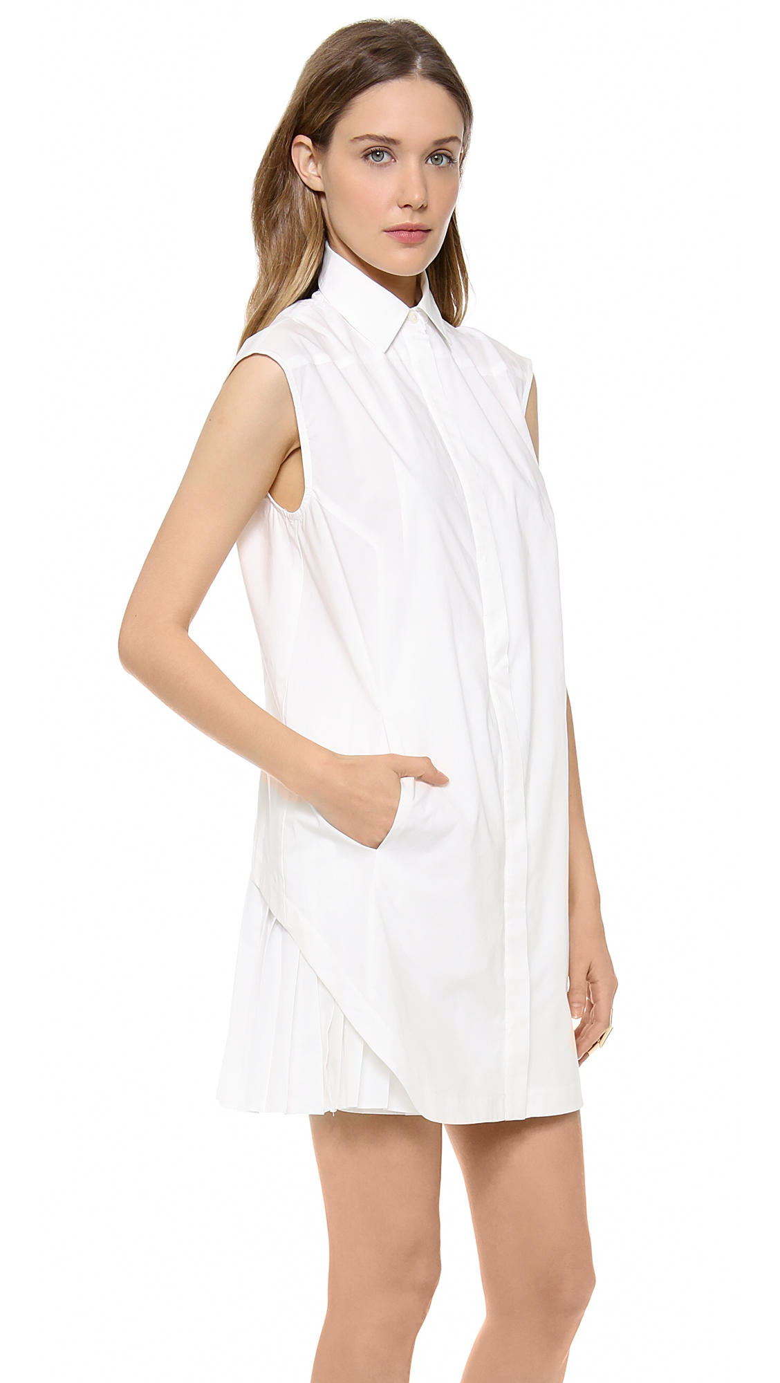 10 crosby derek lam shirt dress with pleated skirt shopbop for Derek lam 10 crosby shirt dress