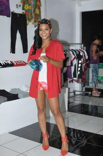 shorts red christina milian top pumps sandals shirt