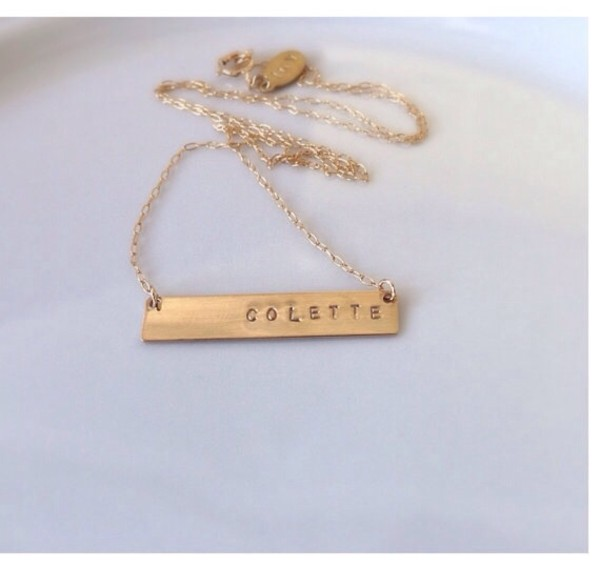 jewels necklace name plate