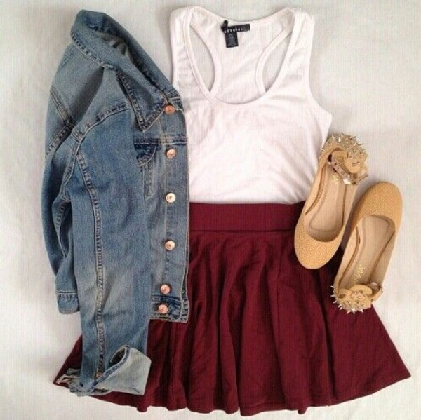 skirt burgundy shoes jacket swag girl girly hot teenagers