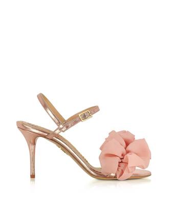 heel metallic rose gold rose sandals gold leather pink shoes