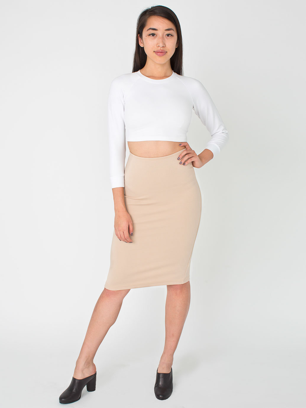 Mid-Length Pencil Skirt | American Apparel