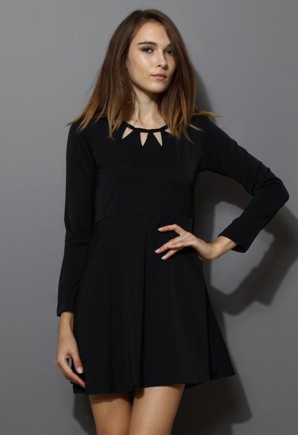 dress black cut-out neckline