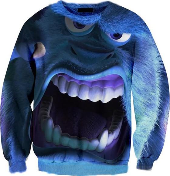 pullover sweater bleu monster monster & co.