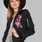 Floral satin finish bomber jacket black -shein(sheinside)