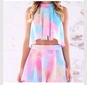 shorts two-piece cotton pastel dress flowy cute dress trendy