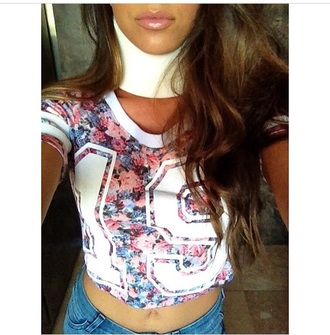 top crop tops floral shirt floral top jersey jersey tops white top