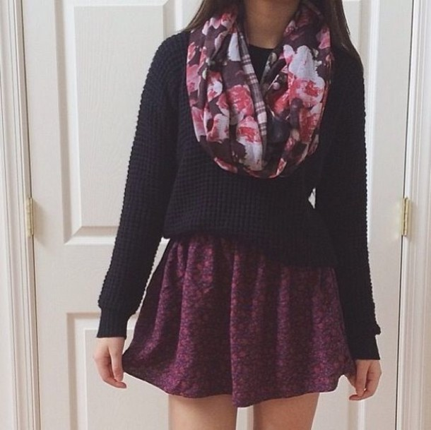 shirt floral scarf black sweater floral skirt sweater scarf skirt