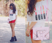 shorts,romwe,romwe shorts,red,shoes,t-shirt,bag