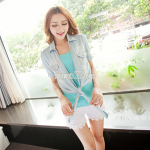 S0bz nice korean mini blue jeans tops women's short sleeve knot denim coat top