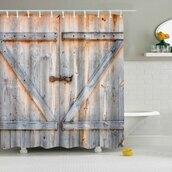 home accessory,hot sale,sale,eco-friendly,wooden door print,shower curtain,bathroom