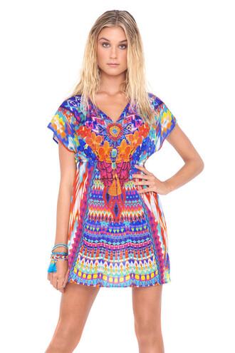 dress luli fama luxury cover up multicolor beach dress patterned dress bikiniluxe