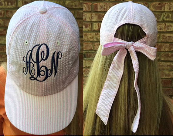 Monogrammed Seersucker Baseball Hat with Bow by tinytulip on Etsy