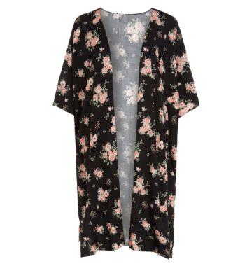 Black Floral Print Midi Kimono