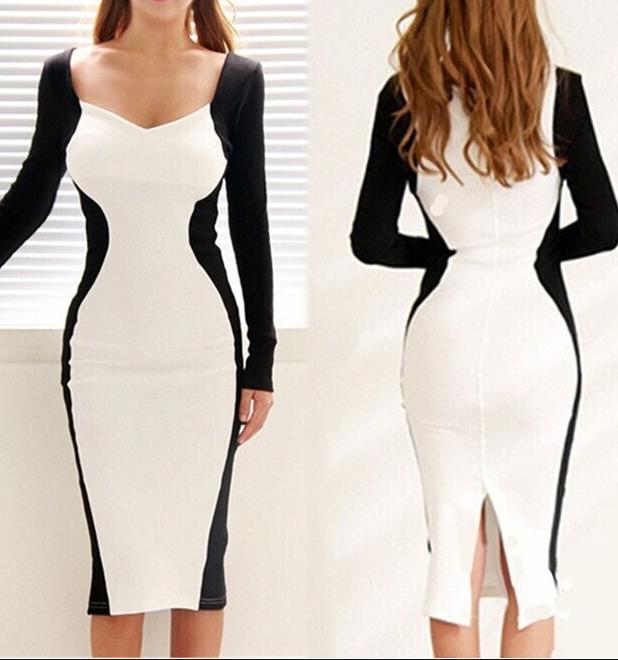 Fashion elegant black and white long sleeve dress