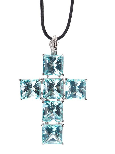 Gavello cross women necklace pendant gold blue jewels