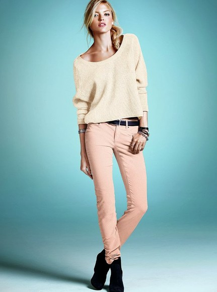 pink pants pastel sweater baggy sweater