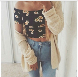 jeans high waisted jeans hipster hippie grunge sylish skirt shirt t-shirt blouse sunflower shoulder free hipster top summer top cardigan cable knit soft grunge soft cozy sweater cozy warm sweater warm stylish style